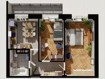 2-к. квартира, 60,8м², 7/10эт.