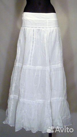 Длинная летняя белая юбка купить