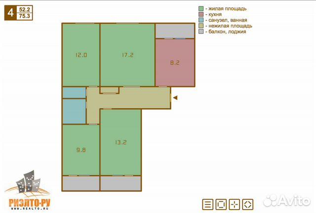 Продается четырехкомнатная квартира за 10 900 000 рублей. г Москва, Ярославское шоссе, д 119.