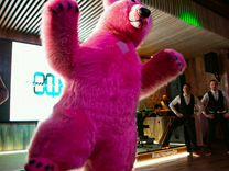Надувной ростовой костюм Розового медведя