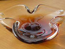 Ваза пепельница янтарно-коньячное стекло Богемия