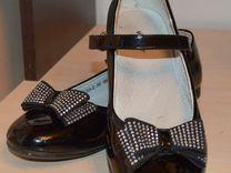 Черные нарядные туфли стразы бантики стелька 23см